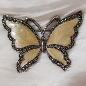 VINTAGE Silver Tan Butterfly Avon Brooch Pin